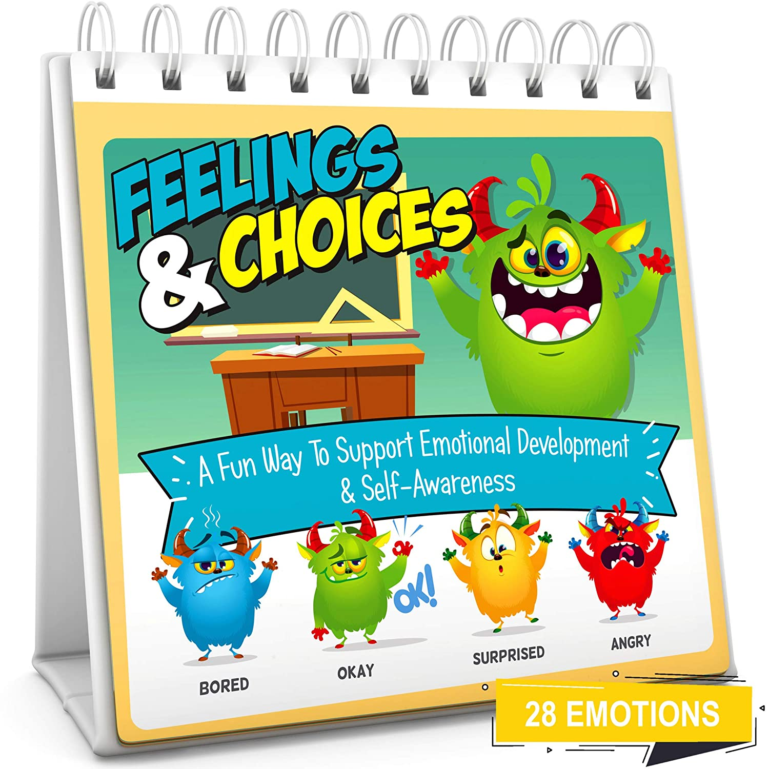Feelings & Choices Flip Book | Teach 28 Emotions to Kids & Toddlers | Early Learning Feelings Chart & Book Flash Card Alternative | Autism (ASD) Friendly Teaching Toy | Parents Teachers & Therapist
