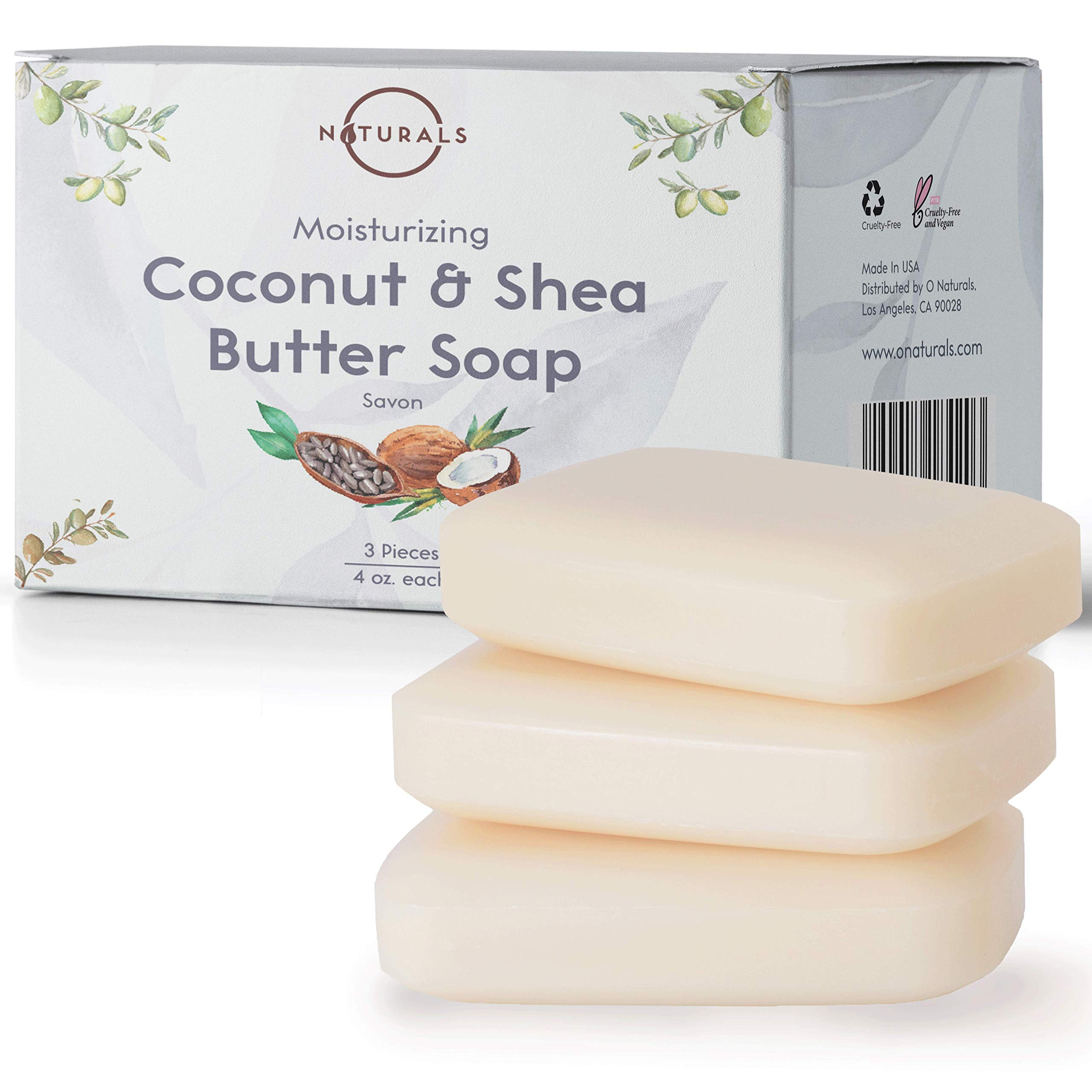 O Naturals 3 Piece Moisturizing Organic Coconut Oil, Shea Butter Bar Soaps. Softens, Nourishes Dry Skin & Sensitive Skin. Face, Hands & Body Soap. Made in USA. Triple Milled, Vegan 3pk 12oz Total