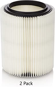 Kopach Replacement Filter for Craftsman and Ridgid Shop Vacs Part #s 9-17816, 9-17912 & Part #s VF4000, VF5000, 2 Pack, Deluxe Fine Particle Filter