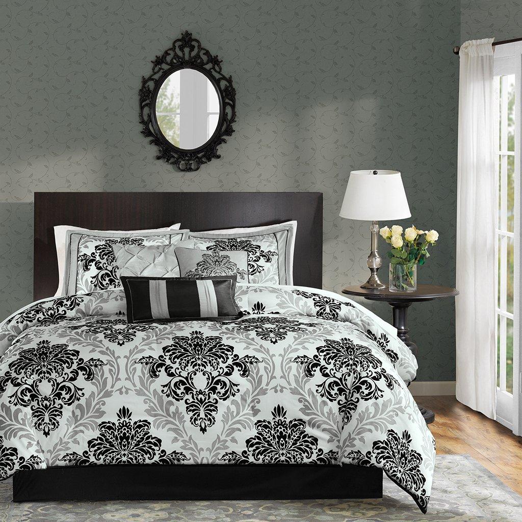 Madison Park MP10-513 Bella 7 Piece Comforter Set, Queen, Black