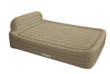 Amazon Intex Deluxe Frame Rising Comfort Queen Airbed With Built In A C Pump Camping Air Mattresses Sports Outdoors