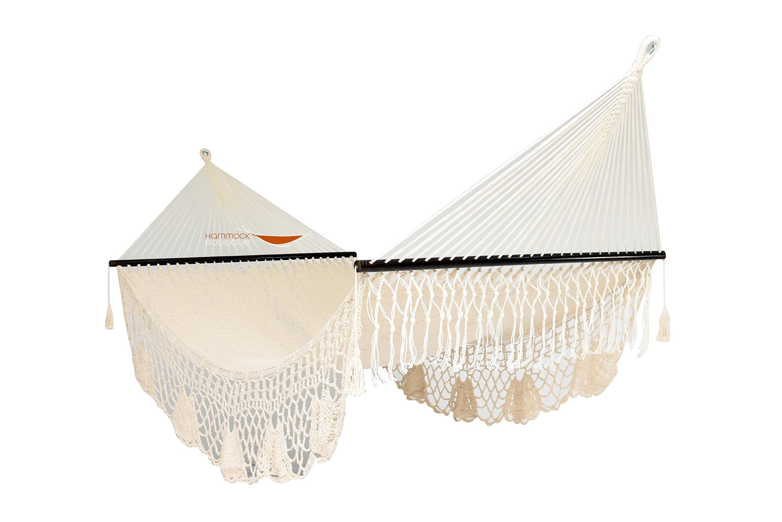 American De Luxe Style Mayan XL Hammock 100% in COTTON thick rope and Crochet handmade Fringe