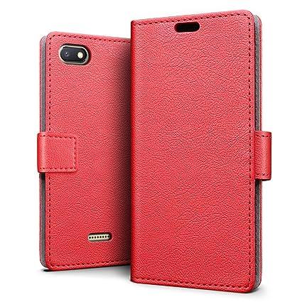SLEO Funda para Xiaomi Redmi 6A Carcasa Libro de Cuero Ultra Delgado Billetera Cartera [Ranuras de Tarjeta,Soporte Plegable,Cierre Magnético] Case ...