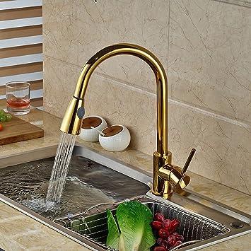 Hidrru Luxus Golden Handheld Herausziehen Kuche Wasserhahn Deck