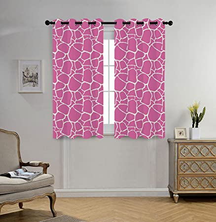 Stylish Window Curtains,Hot Pink,Abstract Giraffe Skin Pattern Vivid ...
