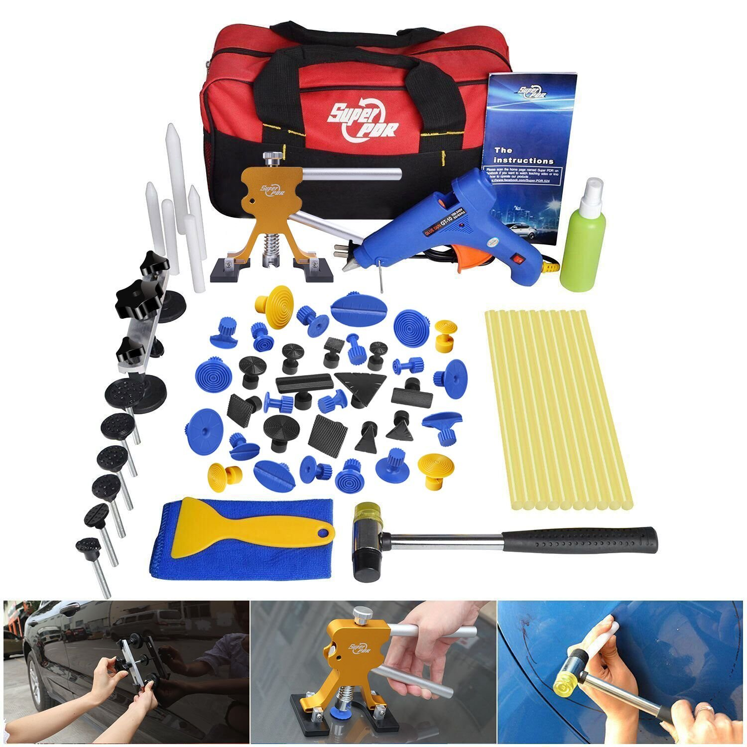 FLY5D 53Pcs Auto Body Paintless Dent Repair Removal Tool Kits Dent Lifter Bridge Glue Puller Kits With Tool Bag