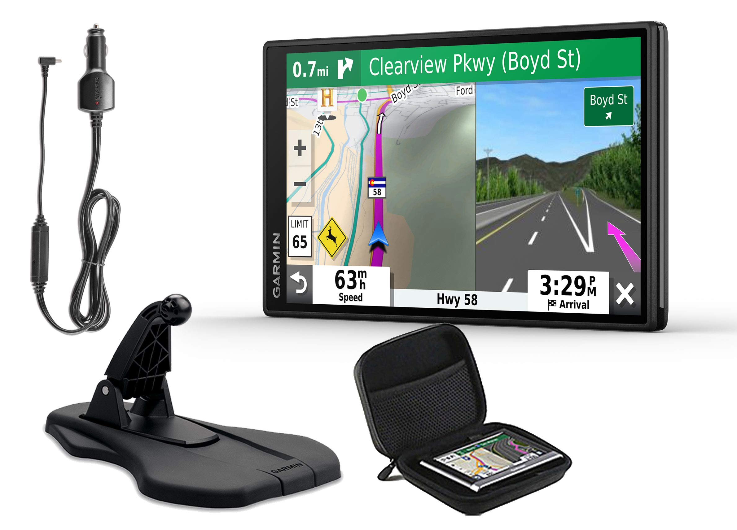 Garmin DriveSmart 55 & Traffic 2019 GPS Vehicle Navigation | Bundle w/Premium Dashboard Friction Mount & PlayBetter Protective Case | Traffic Avoidance, Voice-Activated + Directions, Hi-Res Display by PlayBetter