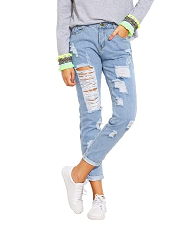 2019 best sell latest releases new release SheIn Women's Solid Ripped Pants High Waist Distressed Cropped Denim Jeans