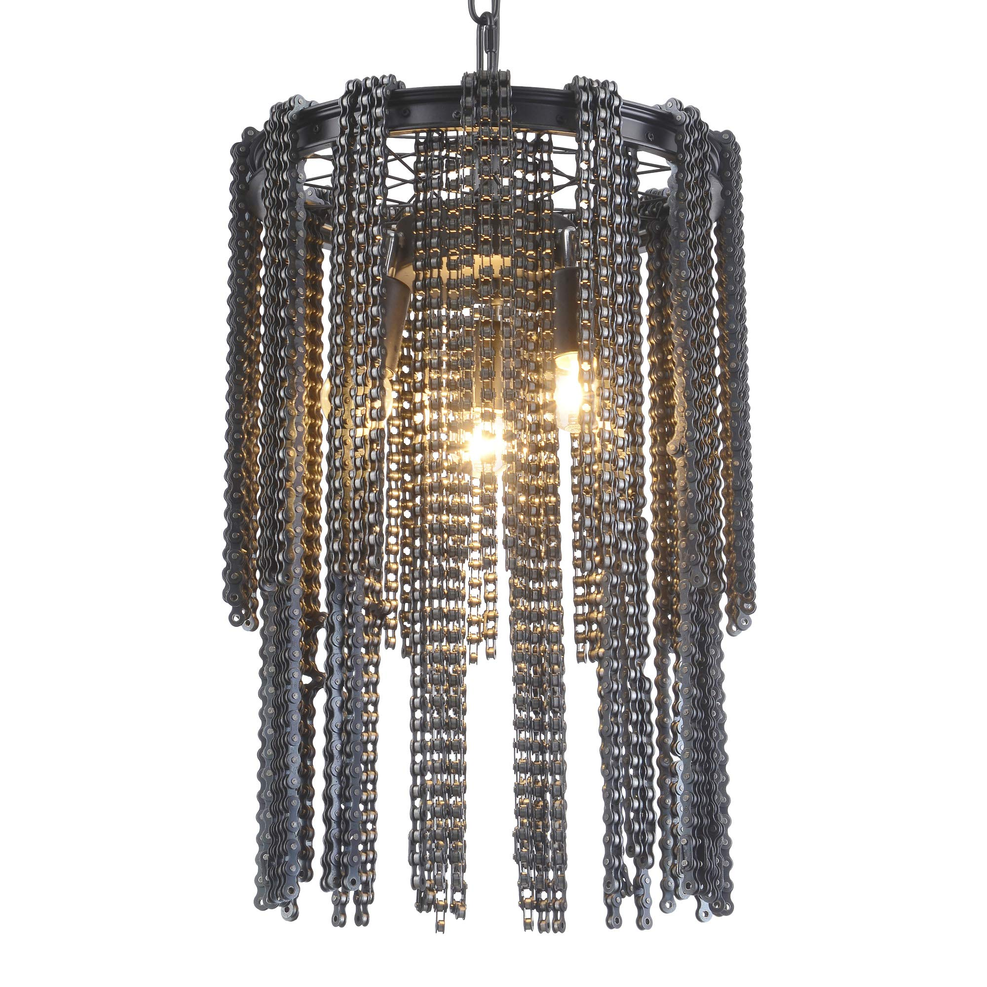 Electro_BP;SZBP1702 Art Retro Vintage Metal Small Chandelier With Bicycle Chain,3 Lights Painted Finish
