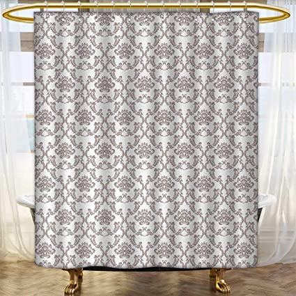Anhounine Taupe Shower Curtains With Hooks French Style Curvy Damask Pattern Nostalgia Foliate Wealth Flora