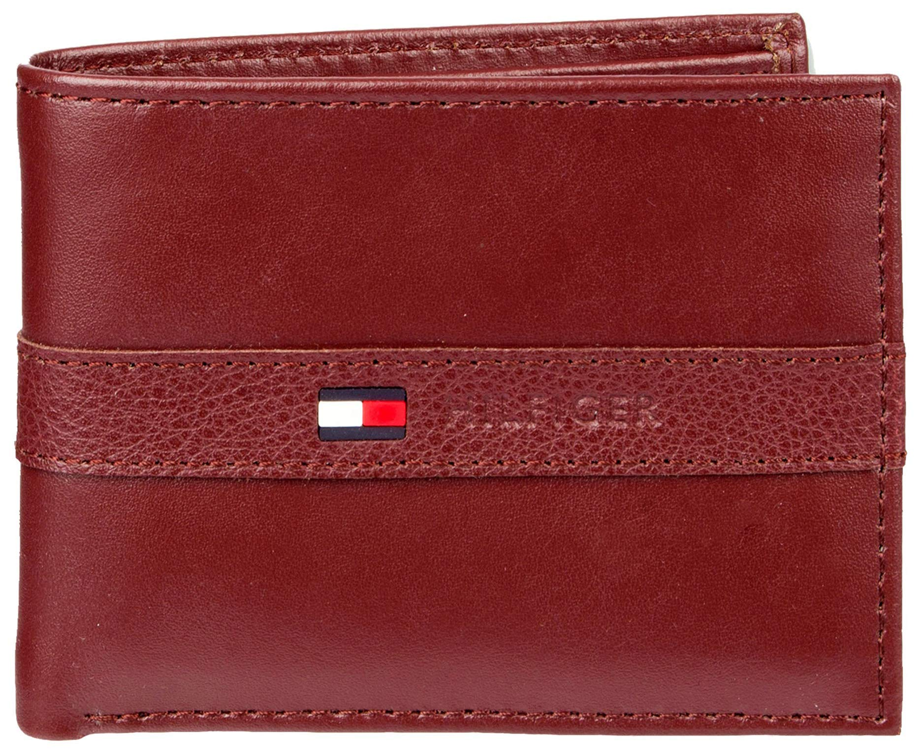 Tommy Hilfiger Men's Leather Wallet - Thin Sleek Casual Bifold with 6 Credit Card Pockets and Removable ID Window, Burgundy by Tommy Hilfiger
