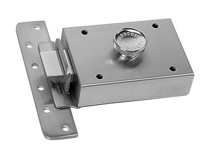 Inceca 36400 - Cerradura de sobreponer contra palanca y pomo, izquierda (acero, bombillo