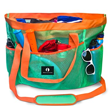 Red Suricata Large Mesh Beach Bag – Mesh Beach Tote Bag with Pockets - Beach Bags and Totes for Women with Zipper & 7 Large Elastic Pockets for Beach Accessories & Beach Toys (Turquoise/Orange)