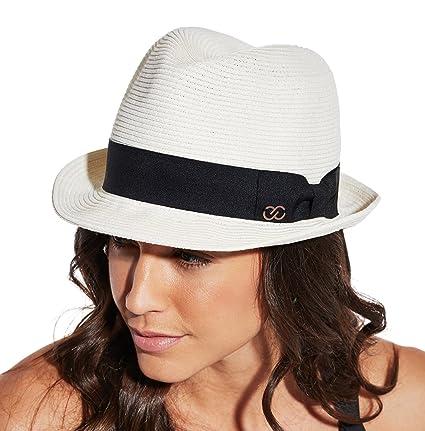 a6bc2bdd91ee7f Amazon.com: CALIA by Carrie Underwood Women's Straw Fedora Hat, (Cream,  OneSizeFitsAll): Sports & Outdoors