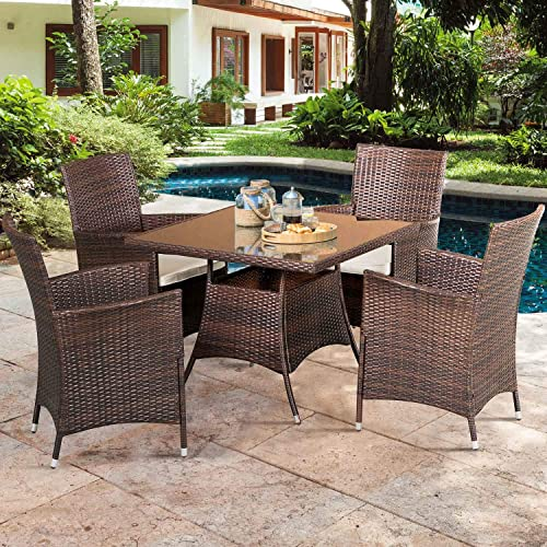 SOLAURA 5 Pieces Patio Dining Table Set Brown Wicker Outdoor Dining Chairs Patio Garden Set