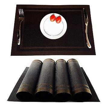 amazon black brown kokako placemats heat resistant dining table