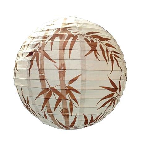 6918 - 40 cm marrón diseño de bambú linterna de papel ...