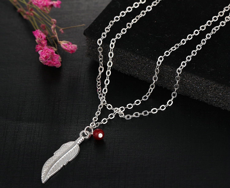 AmDxD Femme Plaqu/é Or Bracelets de Cheville 2 Couches Plume Rouge Perle Cha/îne de Pied de Plage
