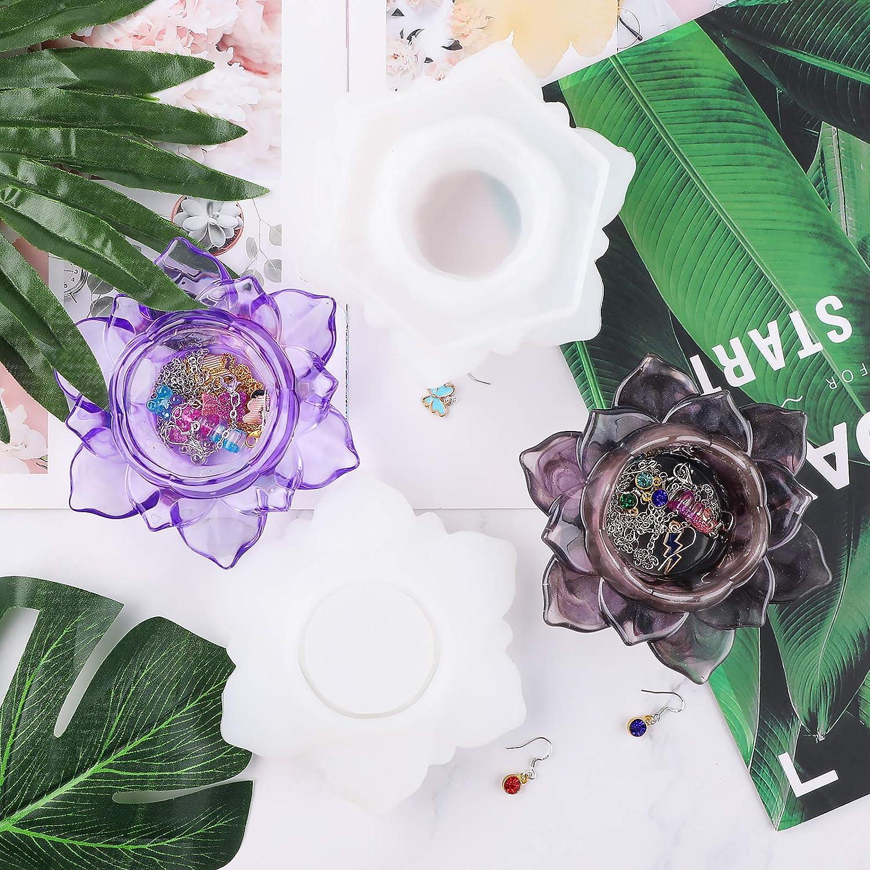 d/écoration de la maison Gukasxi Lot de 2 moules en r/ésine en forme de fleur en forme de fleur en silicone pour pot de fleurs ou bougeoirs en r/ésine