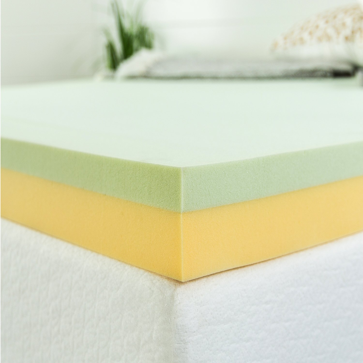 amazon com zinus 4 inch green tea memory foam mattress topper
