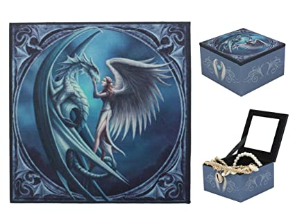 SILVERBACK GIANT FROSTBITE DRAGON ANGEL JEWELRY MIRROR BOX BY ANNE STOKES