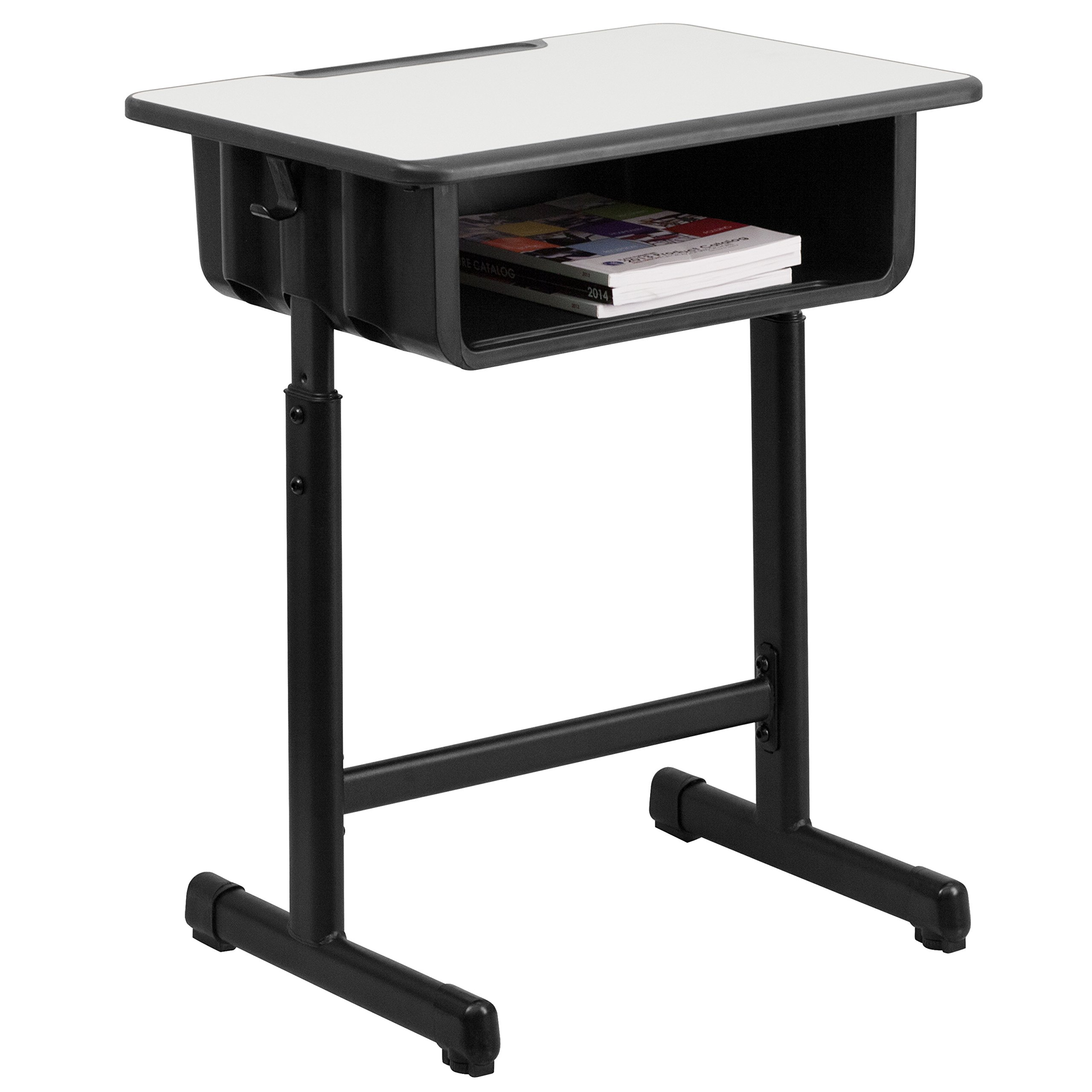 Flash Furniture Student Desk with Grey Top and Adjustable Height Black Pedestal Frame