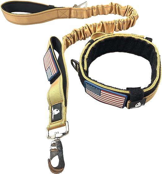 Diezel Pet Products, juego de collar táctico para perro, correa elástica, 5 cm de ancho, extra