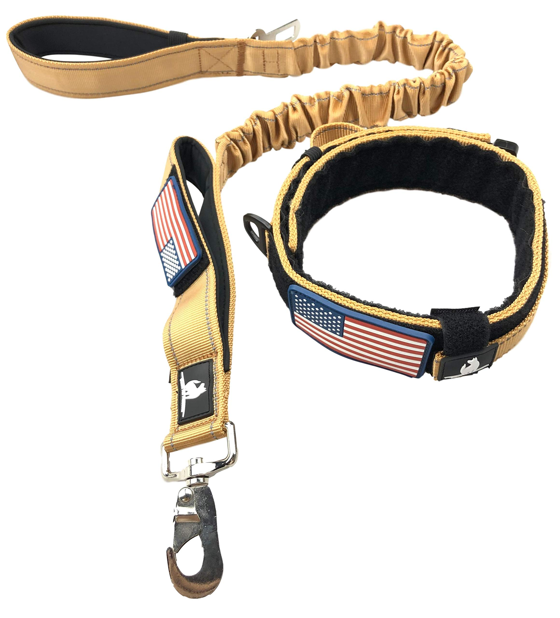 TACTICAL DOG COLLAR BUNGEE LEASH SET - 2'' INCH WIDE EXTRA LARGE HEAVY DUTY THICK K9 DOGS COLLARS HANDLE MILITARY METAL BUCKLE & 1.5'' WIDTH LEASH BOTH WITH USA FLAG PATCH (TAN, LEASH & COLLAR) by Diezel Pet Products
