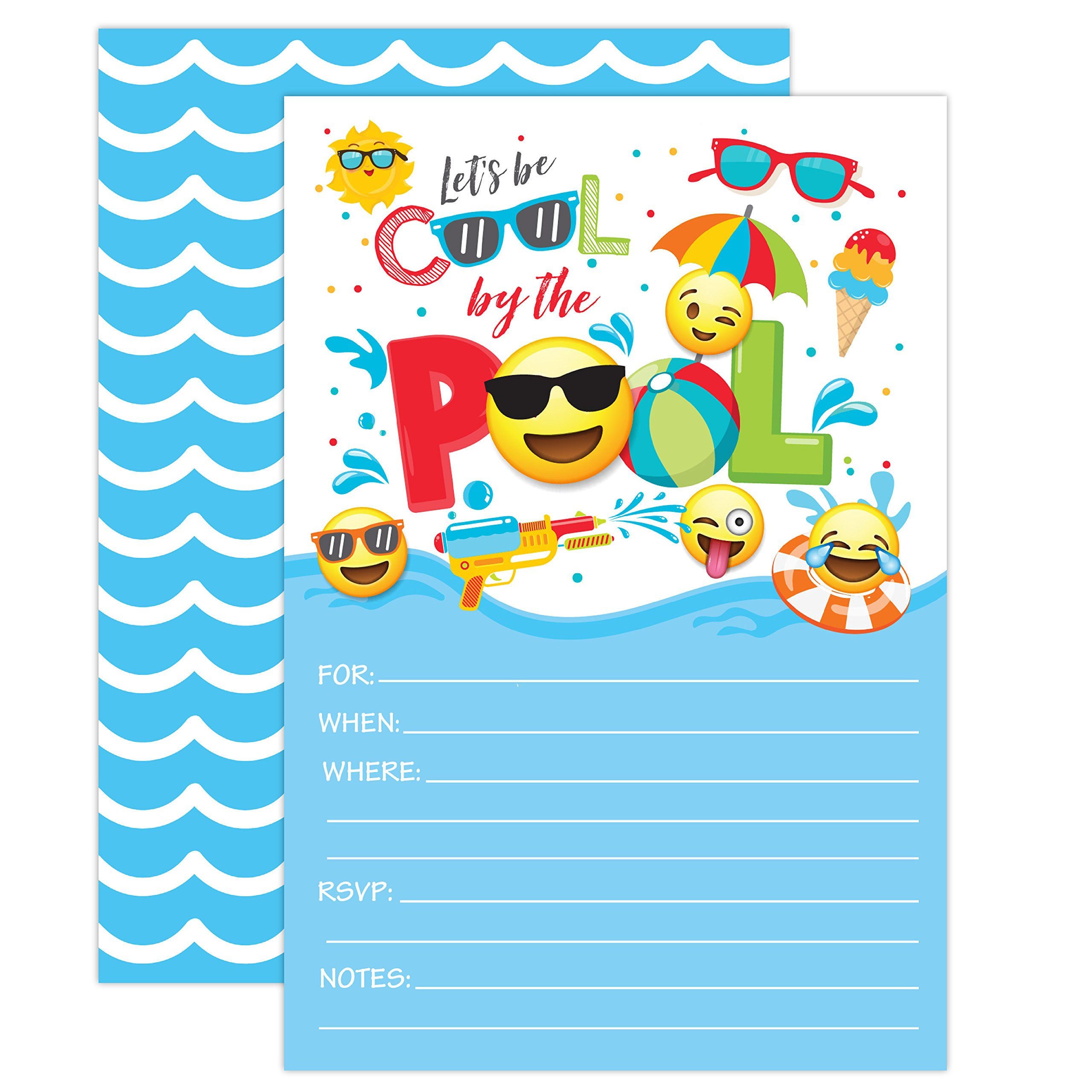 Boy Emoji Pool Party Birthday Invitations, Summer Pool Party Bash, Splash Pad, Water Park Invites, 20 Fill In Pool Party Invitations With Envelopes by Your Main Event Prints