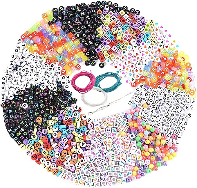 100p Spacer Acrylic Beads DIY Cube Making Loose Mixed Alphabet Jewelry J3J2