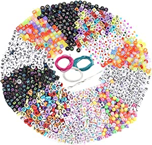 Souarts 1300PCS Acrylic Letter Beads, Valentines Bracelets 6x6mm Beads for DIY Jewelry Kit Accessories, Cube/Round Alphabet Letter Beads for Jewelry Making Beads for Handmade Crafts (Multicolor)