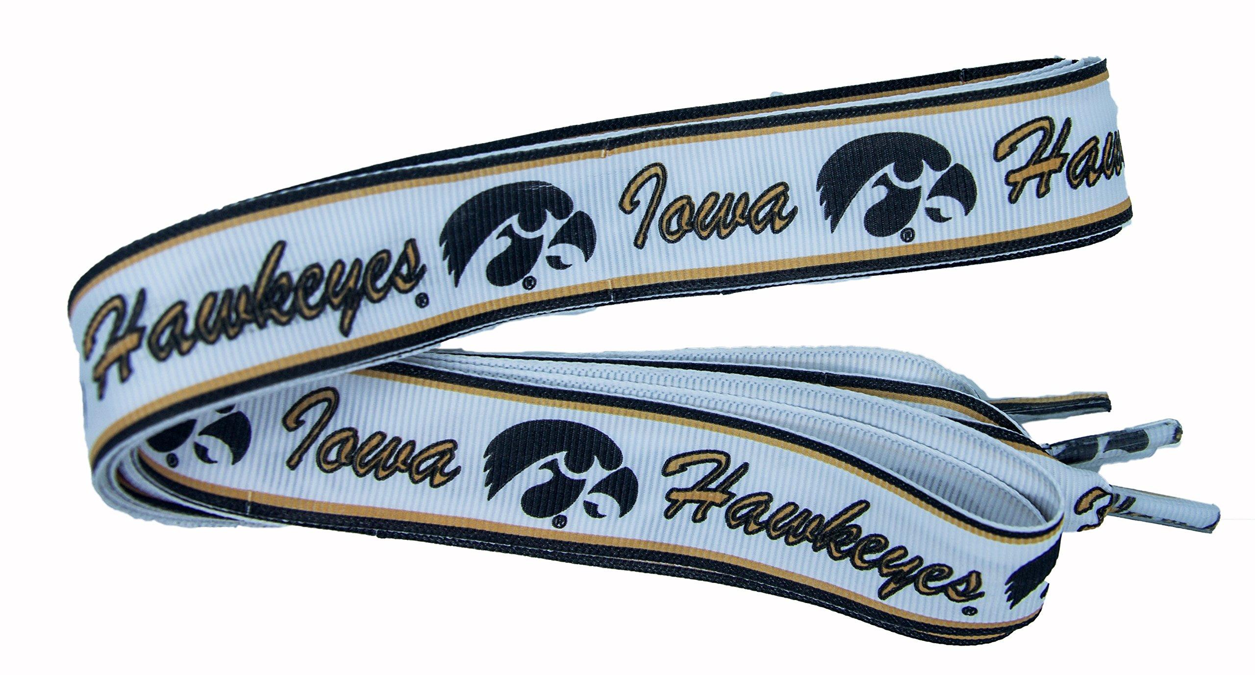 NCAA Iowa Hawkeyes Shoelaces, Yellow Gold/Black, One Size