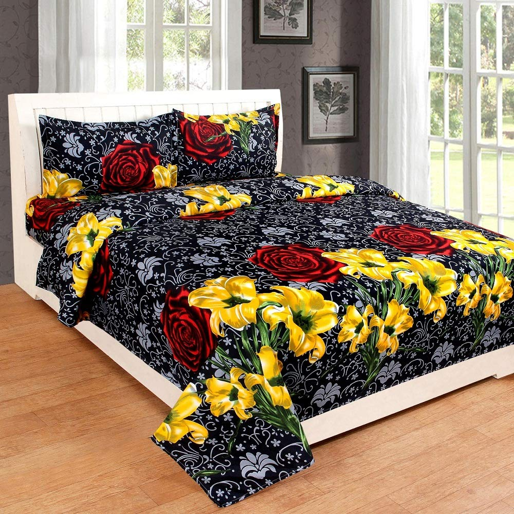 RS Home Furnishing Glace Cotton King Size Double Bedsheet with 2 Pillow Covers (Multicolour)