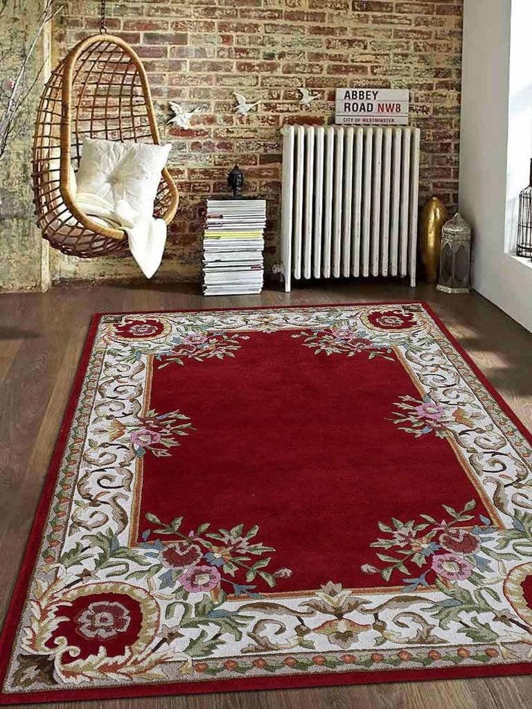 Rugsotic Carpets Hand Tufted Wool 3' x 5' Area Rug Floral Red White K04031