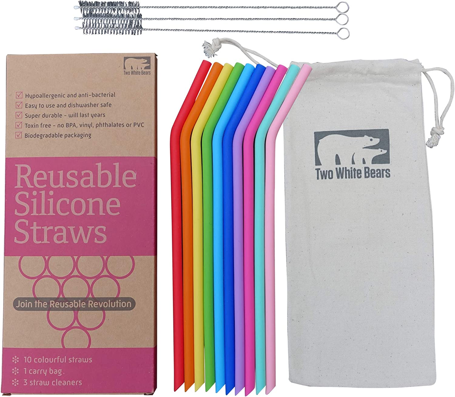 Reusable Drinking Straws 10 Pack - Food Grade Silicone Straw