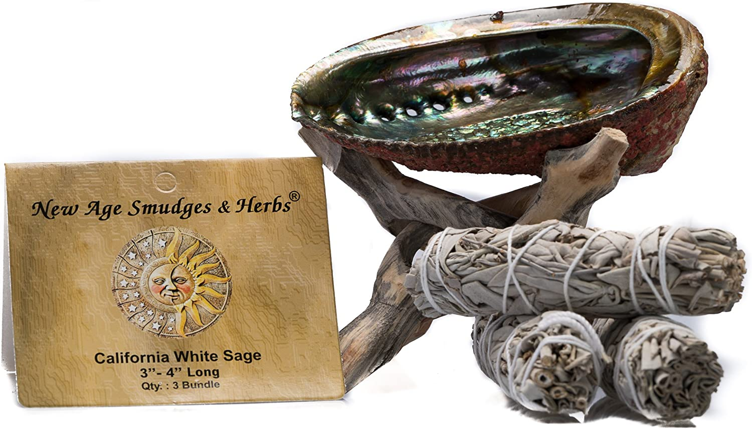 """Smudging Kit - 3 California White Sage Smudging Wands (Salvia Apiana) with Beautiful Natural 5 in - 6 in Abalone Shell, Kit Includes Natural Wooden Cobra Tripod Stand - Sage Sticks - 3'' - 4"""" length"""