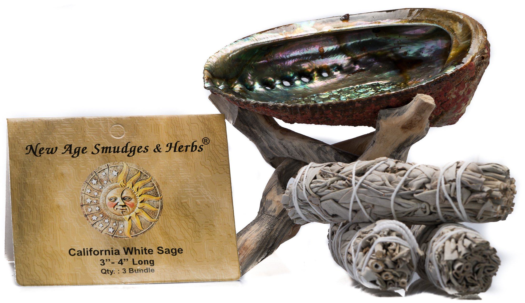 "Smudging Kit - 3 California White Sage Smudging Wands (Salvia Apiana) with Beautiful Natural 5 in - 6 in Abalone Shell, Kit Includes Natural Wooden Cobra Tripod Stand - Sage Sticks - 3'' - 4"" length"
