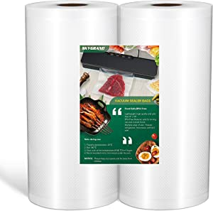 Vacuum Sealer Bags 8x50 Rolls 2 pack for All Vacuum Sealer machine Food Saver, Seal a Meal, Commercial Grade, BPA Free, Heavy Duty, Puncture Prevention, Great for vac storage, Meal Prep or Sous Vide