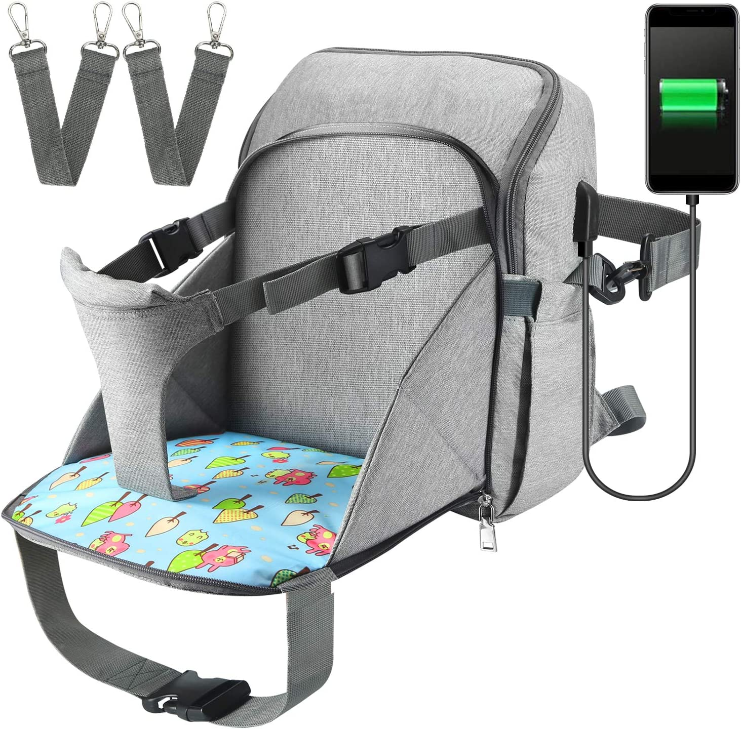 Sac /à Langer avec Chaise Nomade B/éb/é Maman Si/ège Support /à dos Ajustable pour Chaise 1 Sacoche Etanche imperm/éable avec 2 Sangles de Poussette USB port Bleu Fonc/é