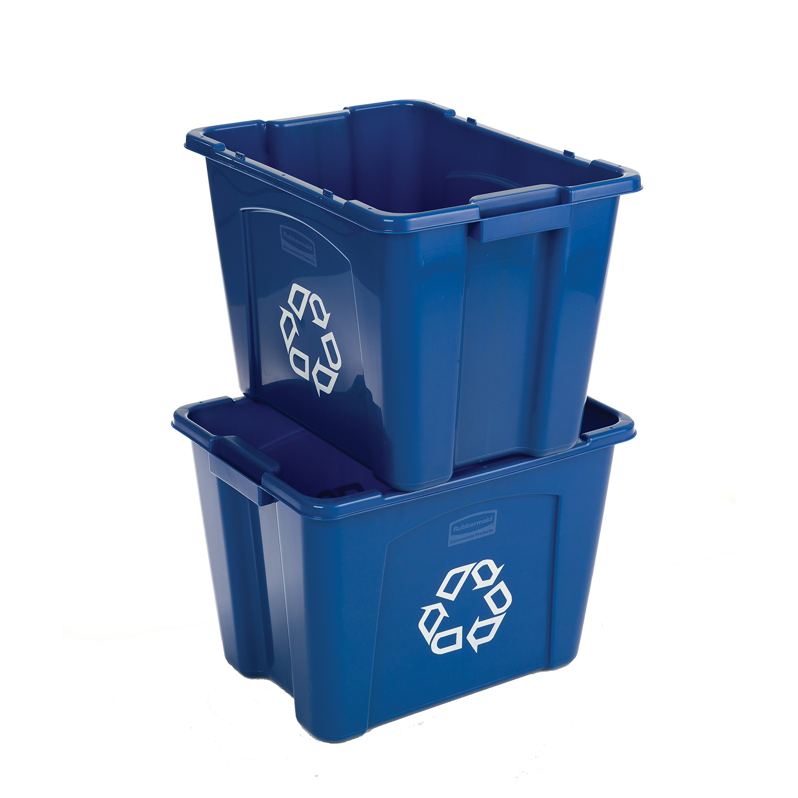 Rubbermaid Commercial Stackable Recycling Bin, 14 Gallon, Blue (FG571473BLUE)