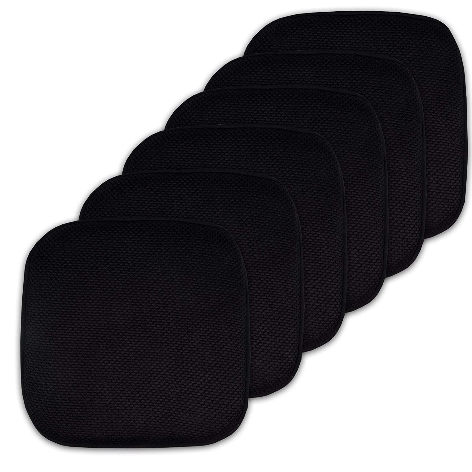 "Sweet Home Collection Cushion Memory Foam Chair Pads Honeycomb Nonslip Back Seat Cover 16"" x 16"" 6 Pack Black"