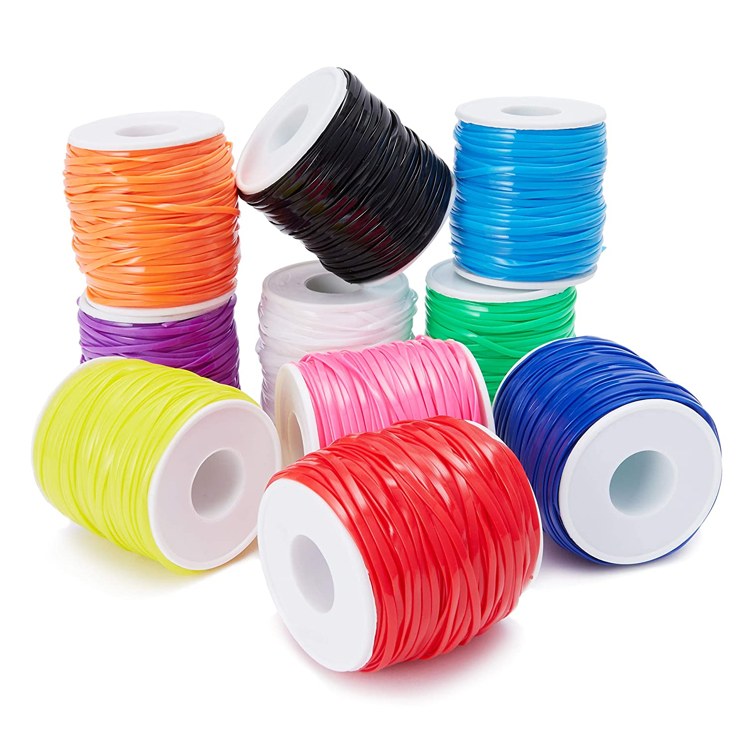 10 Colors 2.5 x 1mm Juvale 10-Pack Plastic Lacing String Cord for DIY Craft Jewelry 50 Yards Length