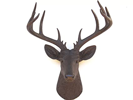 b10051f6f83a8 Amazon.com  Near and Deer Deer Head Wall Mount Large Dark Brown ...