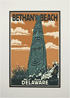 product image for Bethany Beach, Delaware - Totem Pole - Letterpress (11x14 Double-Matted Art Print, Wall Decor Ready to Frame)