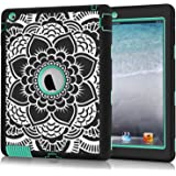 iPad 2 Case, iPad 3 Case, iPad 4 Case, Hocase Shockproof Silicone Rubber Bumper+Hard Shell Full-Body Protective Case for Apple iPad 2nd/3rd/4th Generation w/ Retina Display - Black Flower / Teal