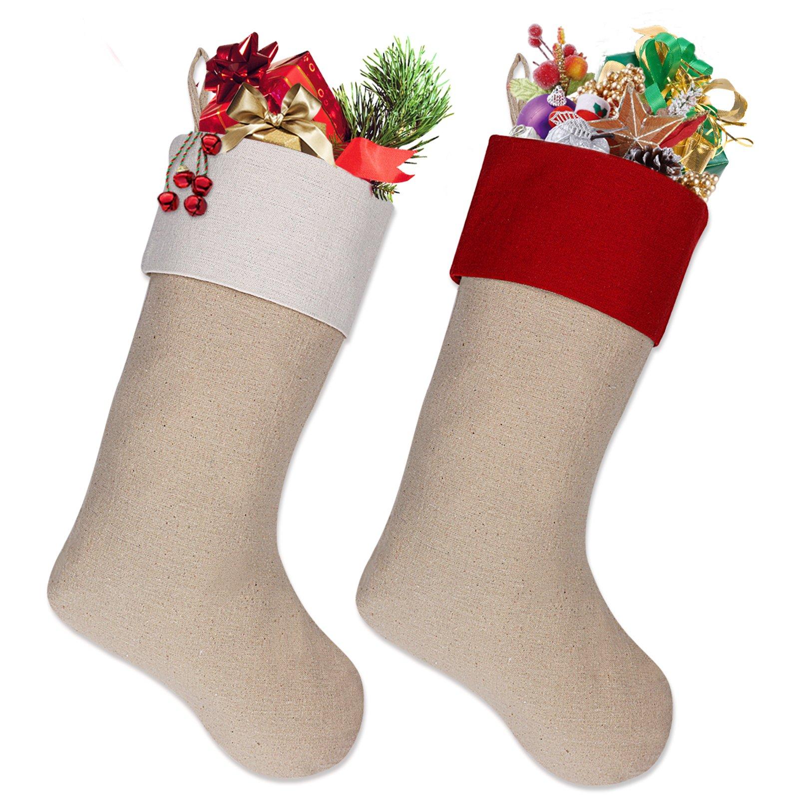 Ivenf 18'' Burlap Personalized Christmas Stockings, Xmas Holiday Decorations 2 Pack