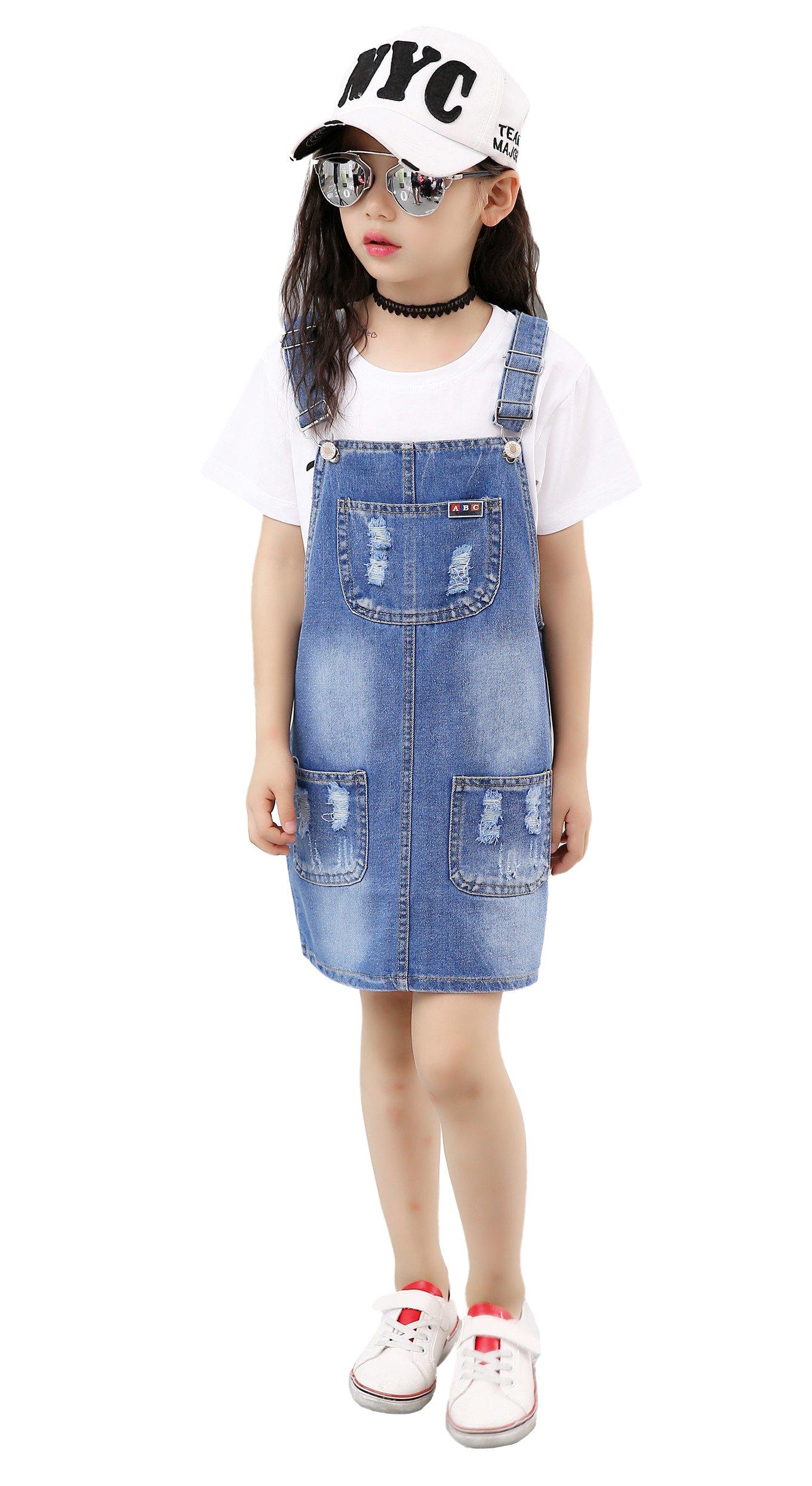 Kidscool Girls 5 Round Ripped Bibs Jeans Overalls Dress,Light Blue,6-7 Years