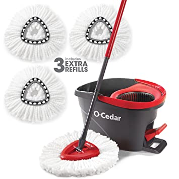 O Cedar Easy Wring Spin Mop And Bucket System (Spin Mop And Bucket With 3 Extra Refills) by O Cedar