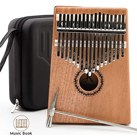 JDR Kalimba 17 Keys Thumb Piano With EVA Waterproof Protective Case, Tuning  Hammer And Music Book, Unique Gift Birthday Gift For Kids Without Any
