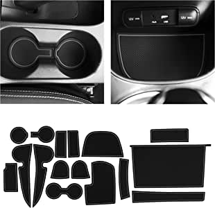 CupHolderHero for Kia Soul Accessories 2014-2019 Premium Custom Interior Non-Slip Anti Dust Cup Holder Inserts, Center Console Liner Mats, Door Pocket Liners 16-pc Set (Gray Trim)